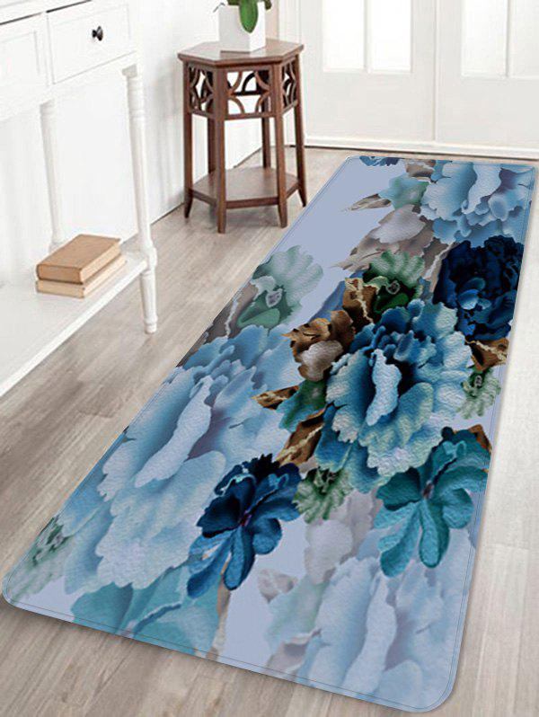 Blooming Peony Flowers Printed Floor Mat Home Decor - LIGHT SKY BLUE W16 INCH * L47 INCH