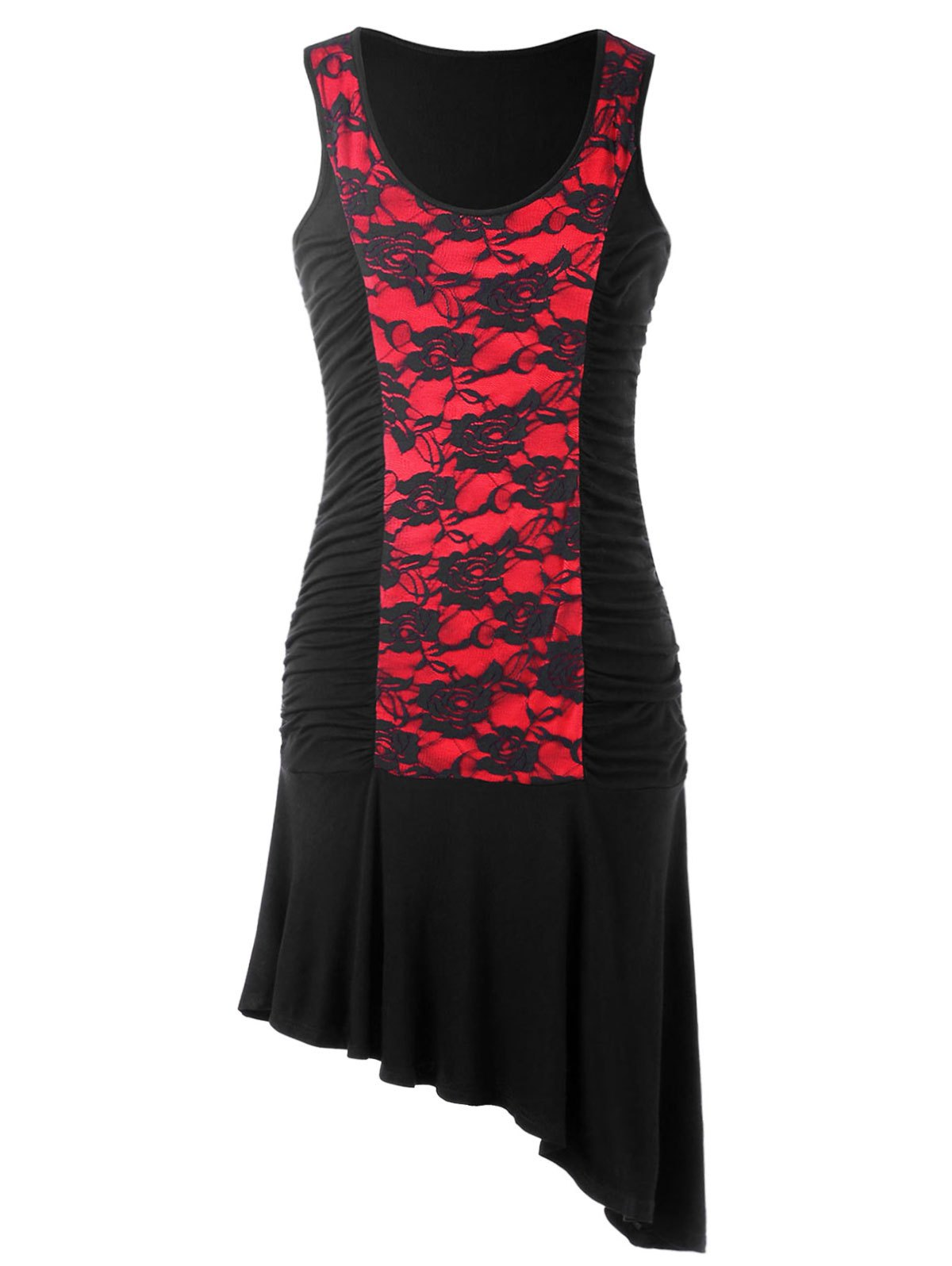 U Neck Sleeveless Asymmetric Dress - RED/BLACK M