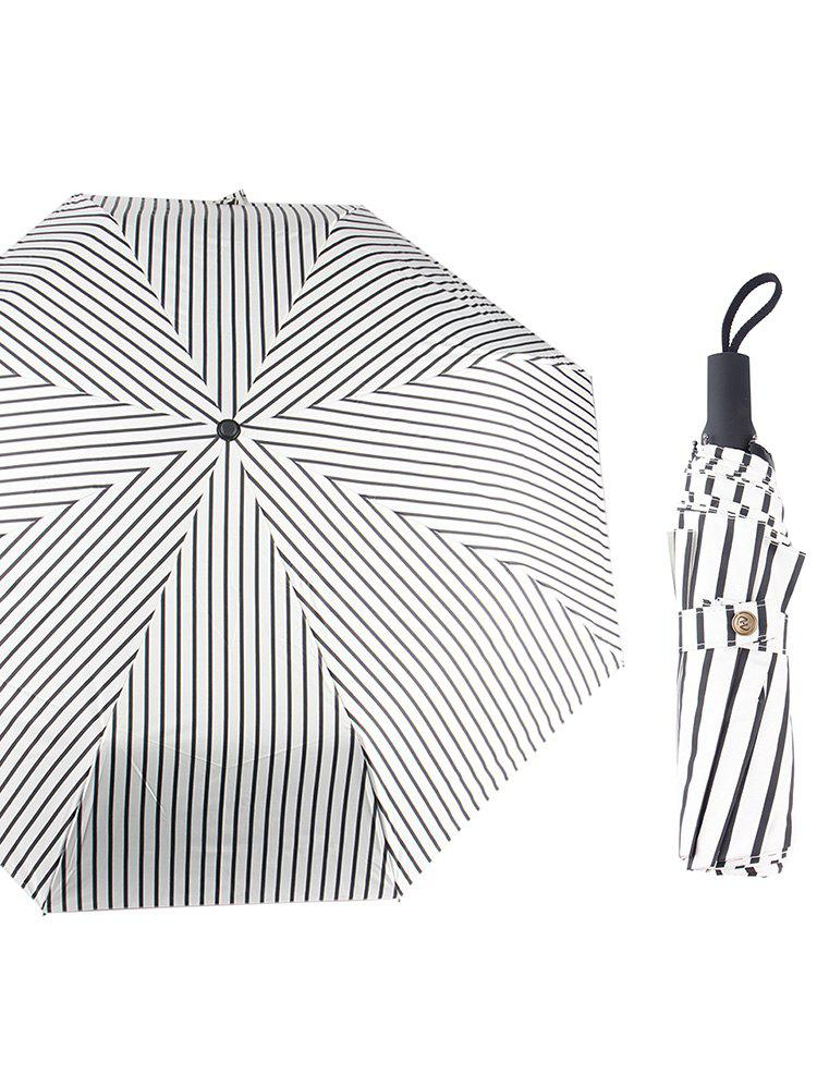 Fresh Striped Print Folding Sunny Rainy Umbrella - BLACK 96*57CM