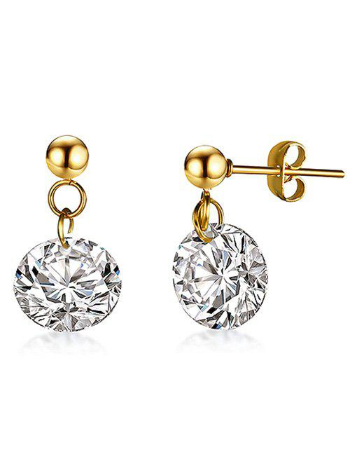 Sparkly Rhinestone Round Drop Earrings - WHITE