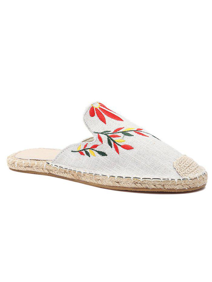 Flower Embroidery Stitching Backless Flats - WHITE 35