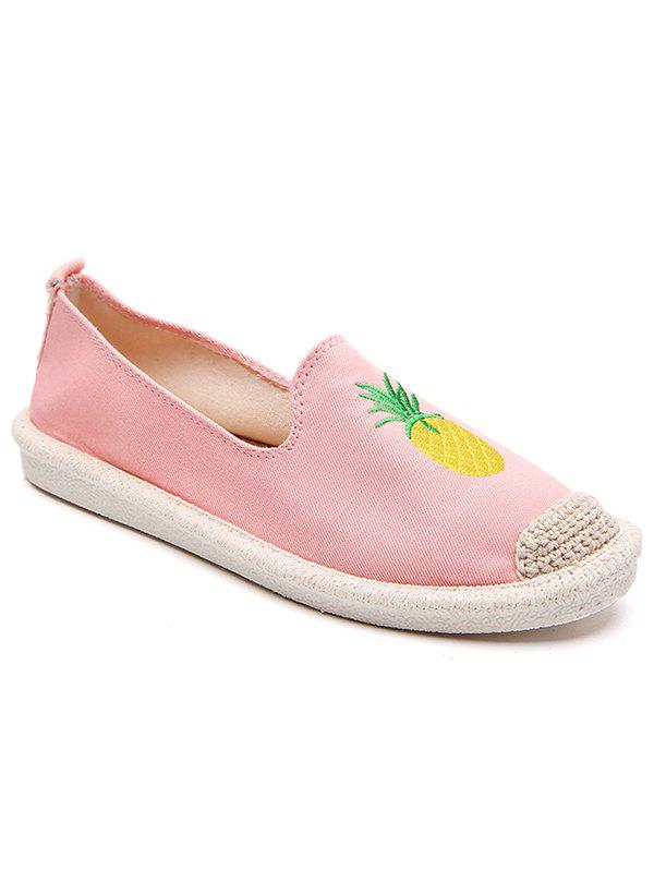 Straw Embroidery Pineapple Round Toe Loafers - LIGHT PINK 35