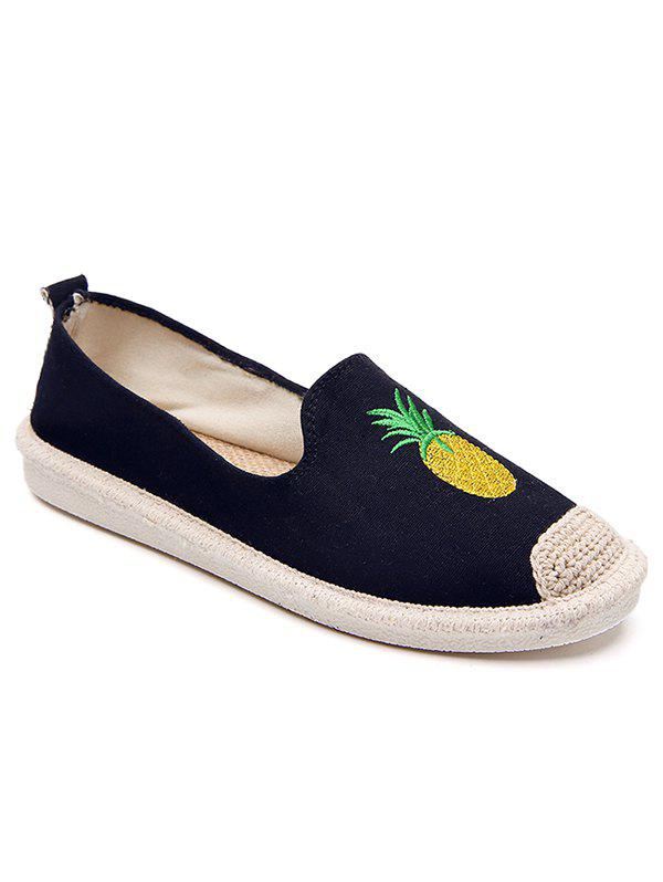 Straw Embroidery Pineapple Round Toe Loafers - BLACK 39