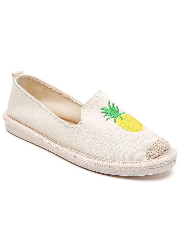 Straw Embroidery Pineapple Round Toe Loafers - WHITE 36