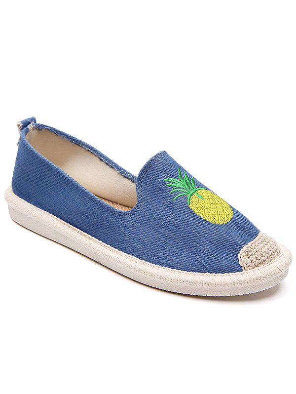 Straw Embroidery Pineapple Round Toe Loafers - BLUE 35
