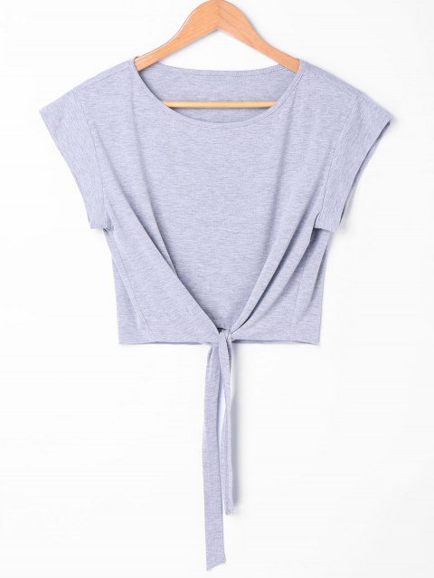 Tie Front Cropped Tee - GRAY L