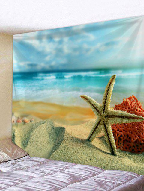 Ocean Beach Starfish Print Wall Tapestry - SUN YELLOW W91 INCH * L71 INCH