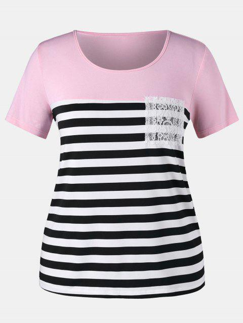 Plus Size Striped Pocket T-shirt - LIGHT PINK L