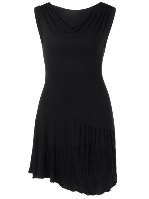 Drop Waist Sleeveless Tunic T-shirt - BLACK M