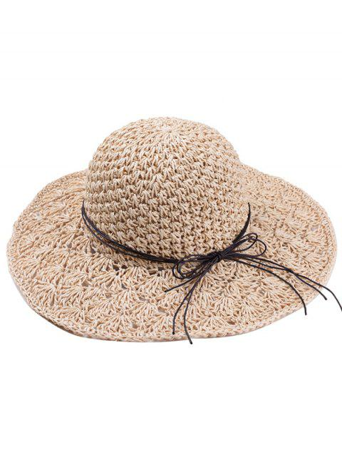 Foldable Summer Oversized Straw Hat - CAMEL BROWN