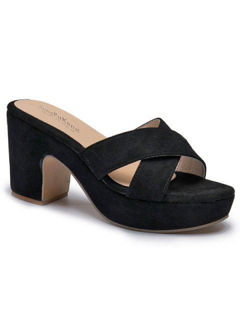 High Heel Cross Strap Suede Sandals - BLACK 38