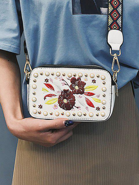 Tribal Print Strap Embroidery Crossbody Bag - WHITE
