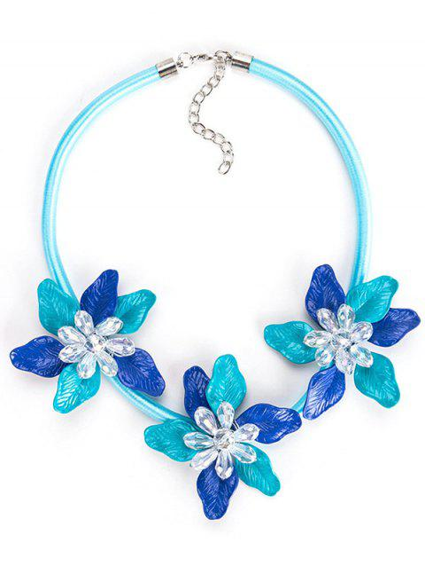 Alloy Flower Pendant Charm Necklace - OCEAN BLUE