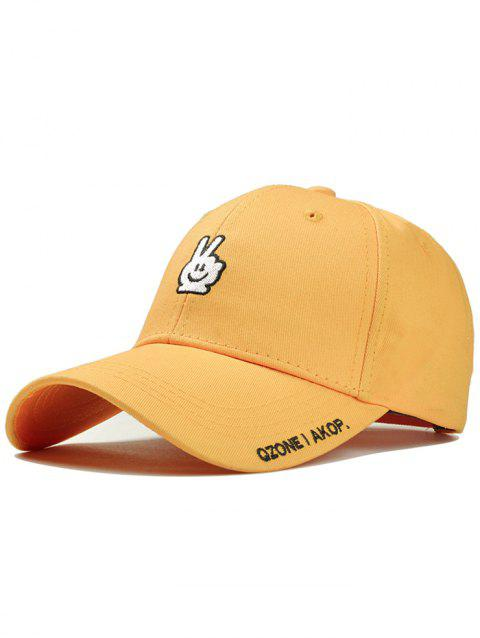 Victory Gesture Embroidery Sunscreen Hat - BRIGHT YELLOW