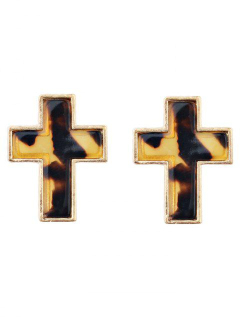 Alloy Resin Crucifix Stud Earrings - multicolor C