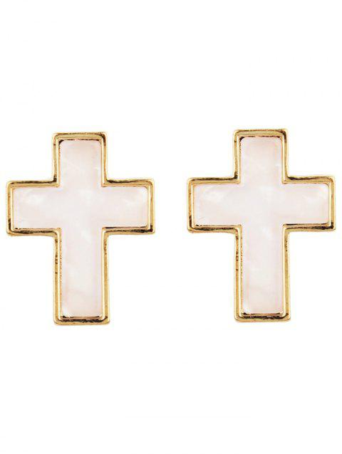 Alloy Resin Crucifix Stud Earrings - multicolor F