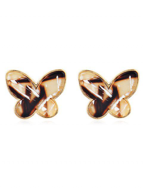 Vintage Metal Resin Butterfly Tiny Stud Earrings - multicolor A