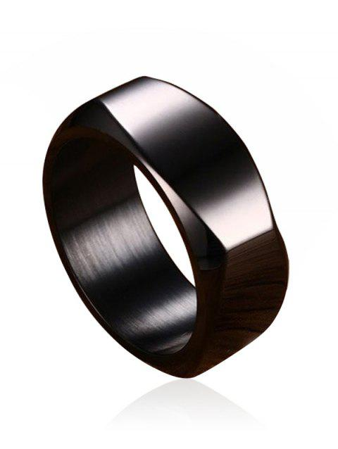 High Polished Alloy Band Ring - BLACK 10
