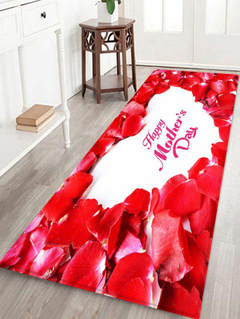 Red Petals Print Non-slip Water Absorption Bathroom Floor Rug - RED W16 INCH * L47 INCH
