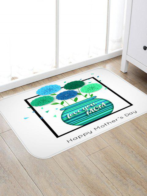 Happy Mother's Day Vase of Flowers Print Antiskid Floor Rug - GREEN W16 INCH * L24 INCH