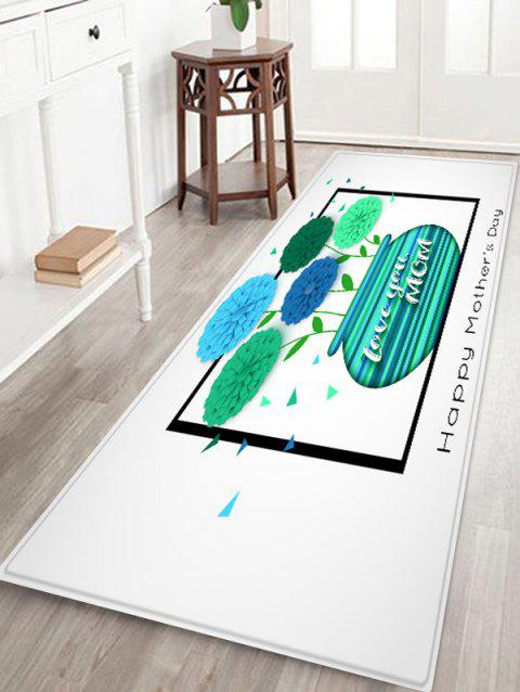 Happy Mother's Day Vase of Flowers Print Antiskid Floor Rug - GREEN W24 INCH * L71 INCH