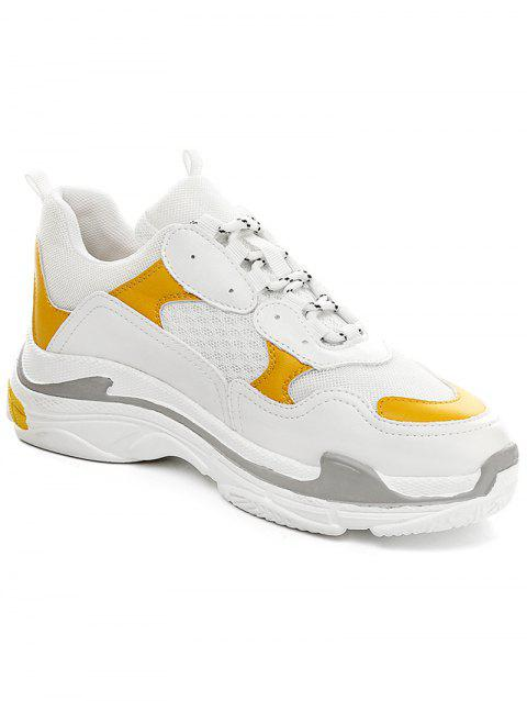 Lanbaoli Breathable Mesh Lace Up Sport Shoes - YELLOW 36