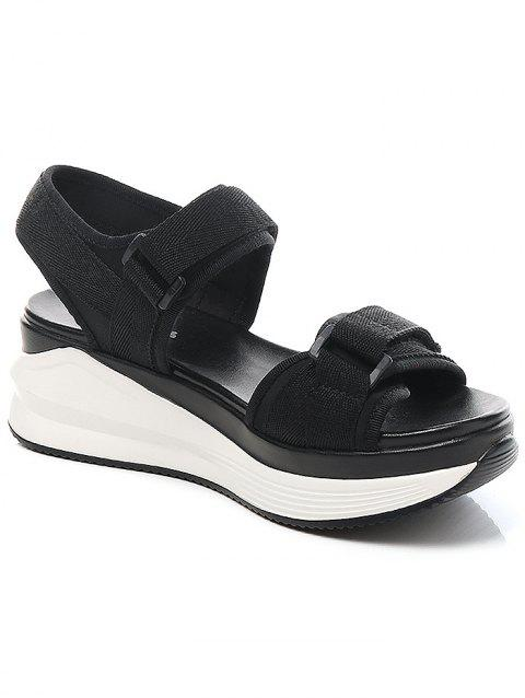 Lanbaoli Ankle Wrap Platform Leisure Sandals - BLACK 40