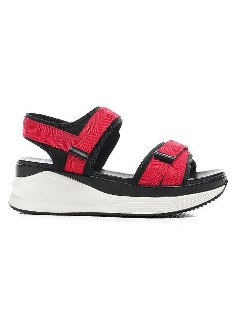 Lanbaoli Ankle Wrap Platform Leisure Sandals - RED 38