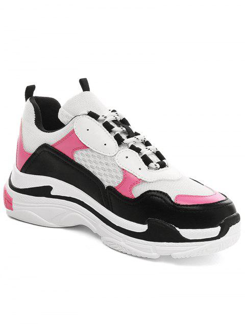 Lanbaoli Breathable Mesh Lace Up Sport Shoes - ROSE RED 38