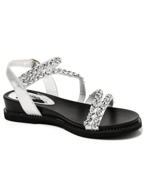 Lanbaoli Chic Crystals Buckled Low Heel Sandals - SILVER 35