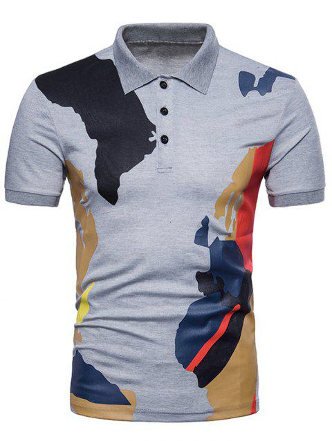Camouflage Printed Casual Polo T-shirt - LIGHT GRAY L