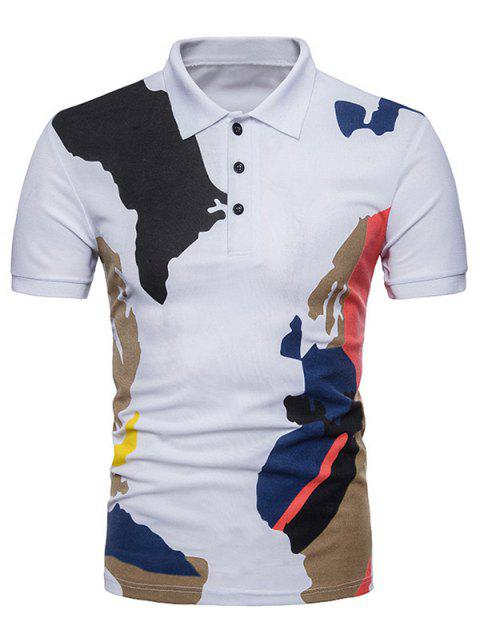 Camouflage Printed Casual Polo T-shirt - WHITE L