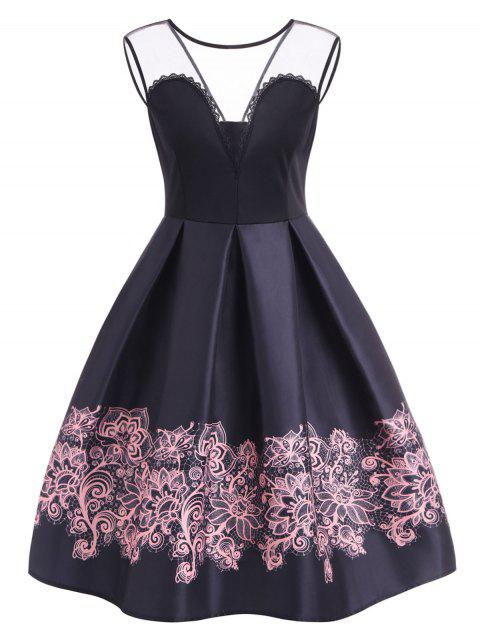 A Line High Waisted Vintage Dress - BLACK S