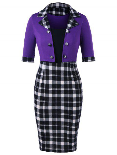 Color Block Notched Collar Plaid Dress - PURPLE M