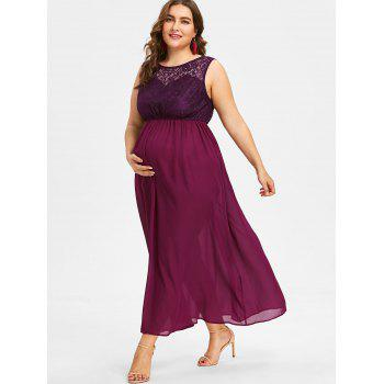 Plus Size Sleeveless Lace Maternity Dress - ROSE RED XL