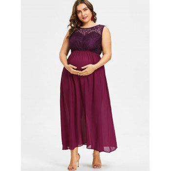 Plus Size Sleeveless Lace Maternity Dress - ROSE RED 3XL