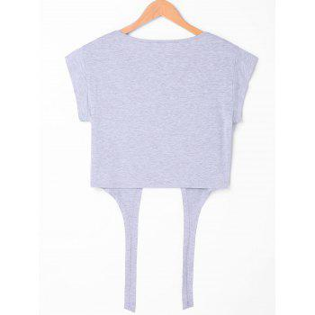Tie Front Cropped Tee - GRAY M