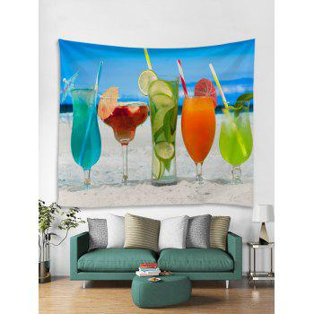 Hawaiian Drinks in Sandy Beach Print Wall Tapestry - multicolor W59 INCH * L59 INCH