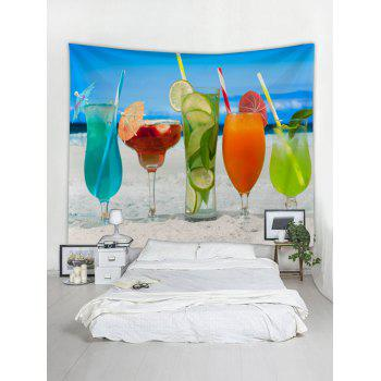 Hawaiian Drinks in Sandy Beach Print Wall Tapestry - multicolor W79 INCH * L71 INCH