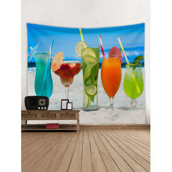 Hawaiian Drinks in Sandy Beach Print Wall Tapestry - multicolor W91 INCH * L71 INCH