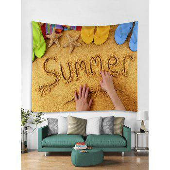 Summer Beach Tapestry Wall Art Decoration - BRIGHT YELLOW W79 INCH * L59 INCH