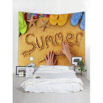 Summer Beach Tapestry Wall Art Decoration - BRIGHT YELLOW W91 INCH * L71 INCH