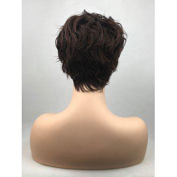 Short Oblique Bang Layered Slightly Curly Synthetic Wig - PUCE