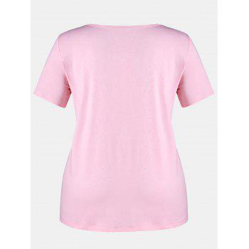 Plus Size Striped Pocket T-shirt - LIGHT PINK 5X