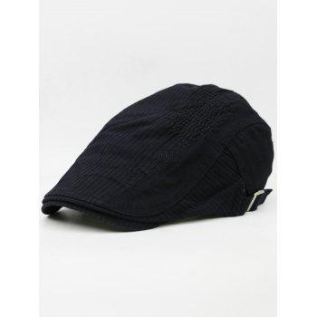 Line Embroidery Breathable Ivy Hat - BLACK