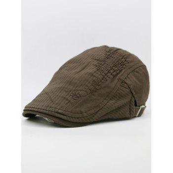 Line Embroidery Breathable Ivy Hat - COFFEE