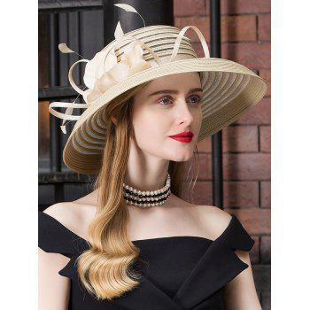 Striped Pattern Floral Oversized Church Hat - CHAMPAGNE