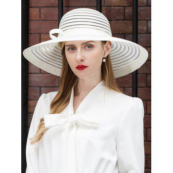 Striped Pattern Summer Straw Hat - BEIGE