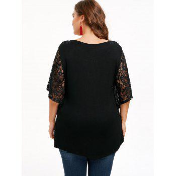Butterfly Sleeve Plus Size T-shirt - BLACK L