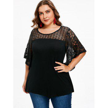 Butterfly Sleeve Plus Size T-shirt - BLACK 2X